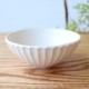 萩焼 しのぎ飯碗 大 (ホワイト・ライトブルー)