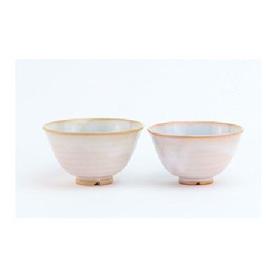 萩焼 ガラス釉夫婦茶碗(ソライロ・モモイロ)