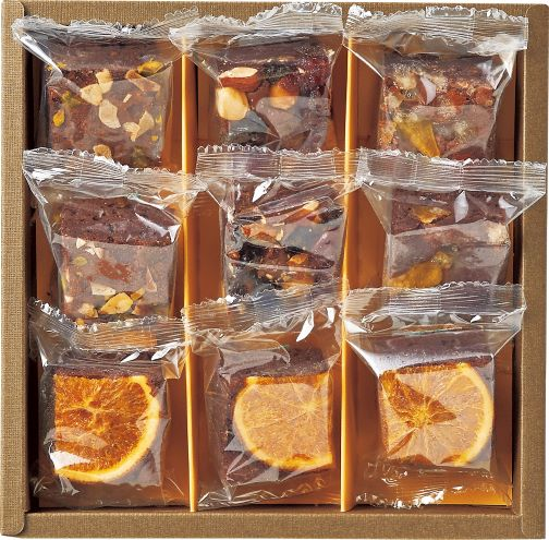 【送料込】ホシフルーツ ナッツとドライフルーツの贅沢ブラウニー 9個・12個入り