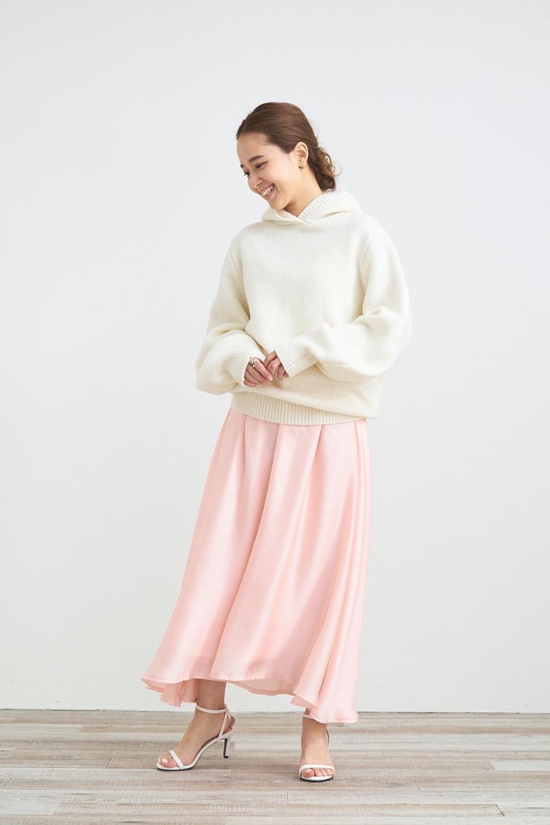 サテンギャザースカート【2021AW】