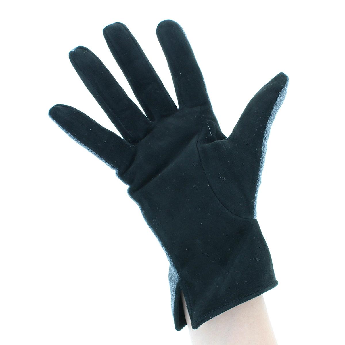 【SALE】ダックス DAKS レディース 革手袋 甲側ウール素材 daksオリジナル テディベア ワンポイント刺繍 掌側 スエード 羊革 裾スリット入り Mサイズ MLサイズ 日本製