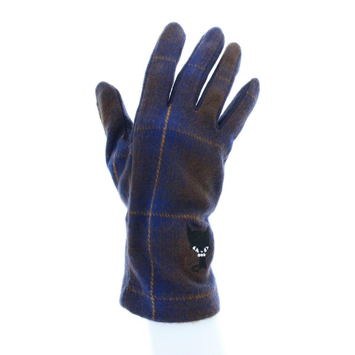 内藤ルネ レディース手袋 甲側タータンチェック生地 ルネキャット刺繍 Mサイズ 全4色
