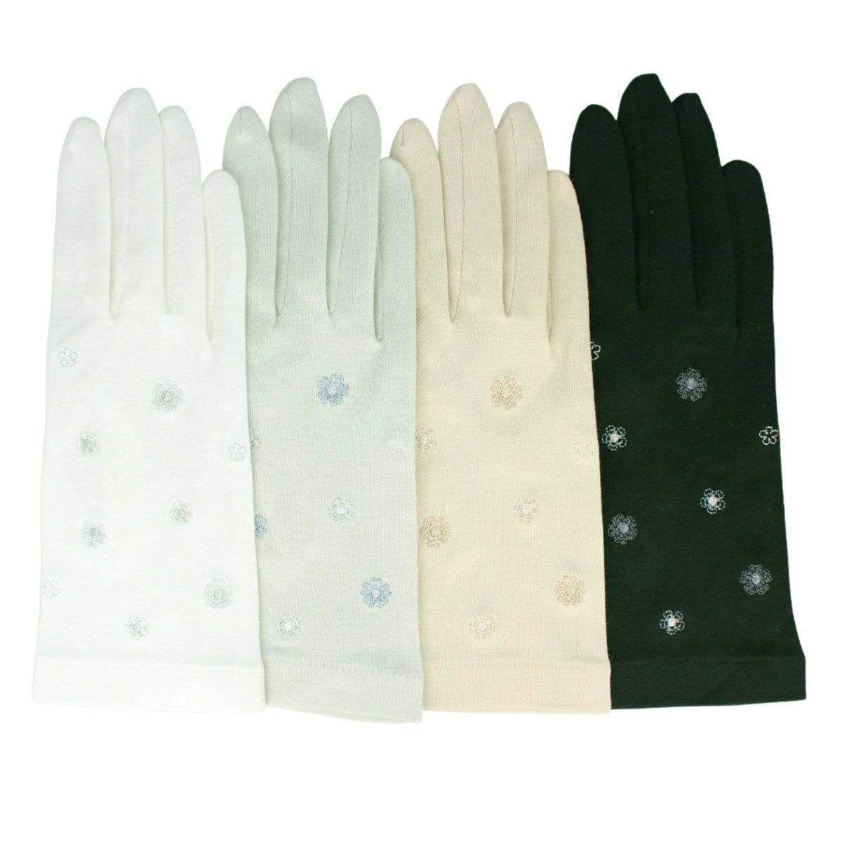 【 21年SS新作 】ローラアシュレイ レディース UV手袋 UVカット 紫外線対策 綿100% ショート丈 24cm 五本指  洗える シンプル かわいい 花柄 プレゼント