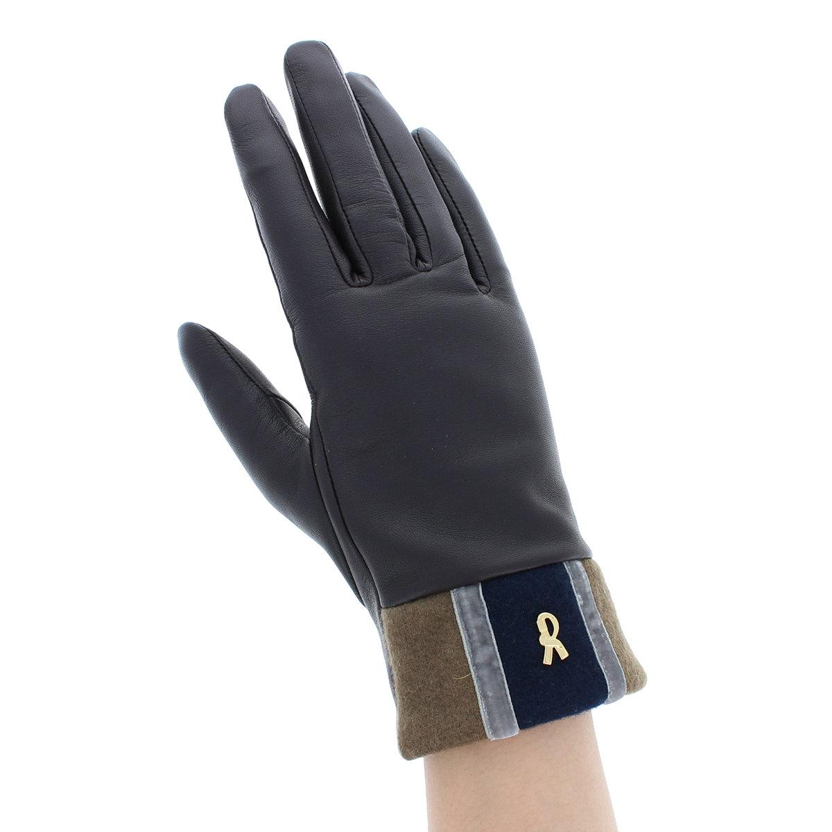 ロベルタ ディ カメリーノ レディース 革手袋 羊革 ブランドマーク 配色 おしゃれ エレガントデザイン 裏地付き 防寒 手袋 Mサイズ MLサイズ