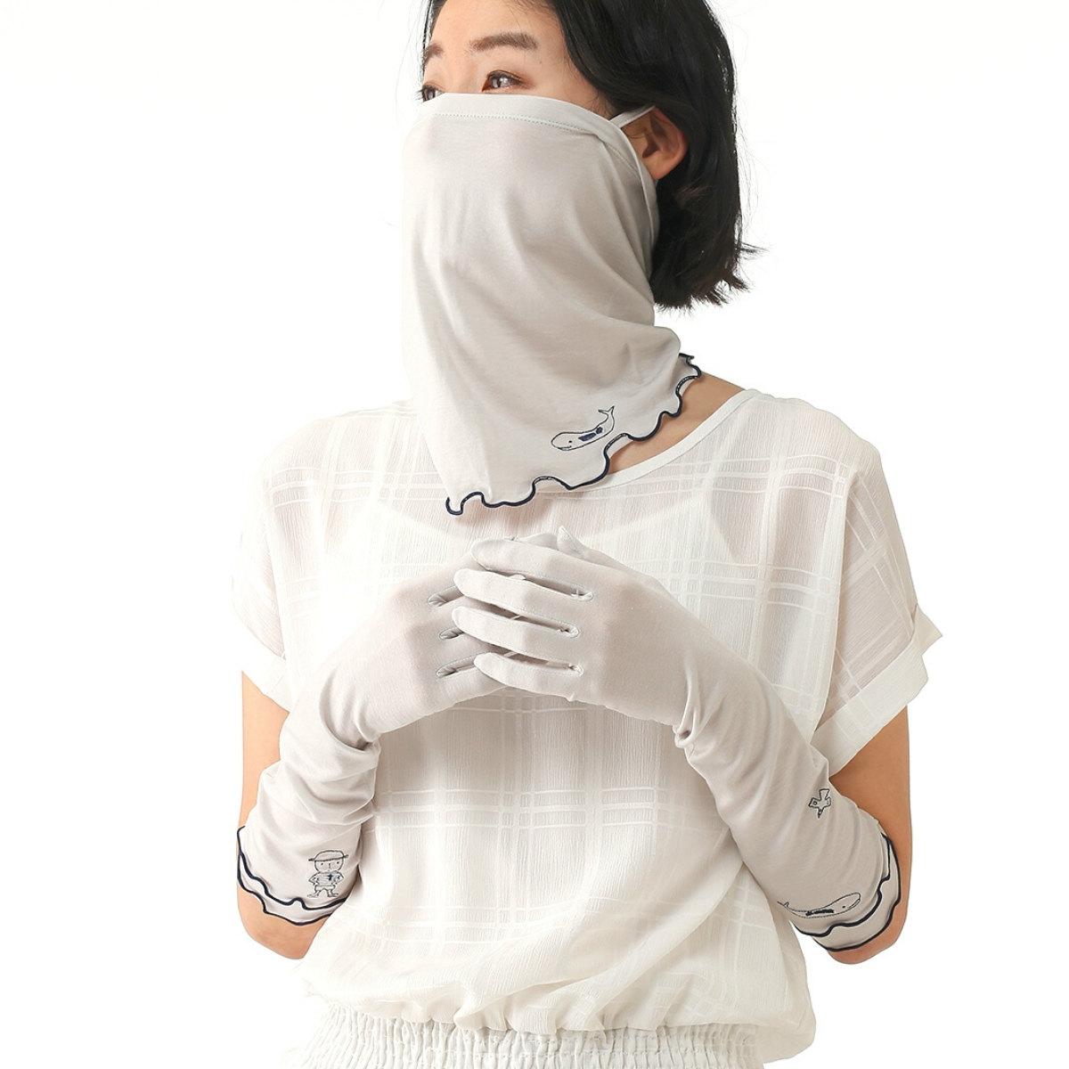 ピッコーネ レディース UV フェイスカバー フェイスガード 紫外線対策 ひんやり 接触冷感 ネックガード ネックカバー ランニング アウトドア ラッシュガード