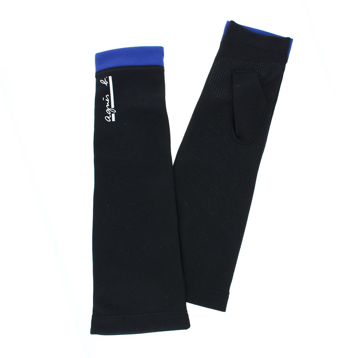 アニエスベー agnes b UV手袋 UVカット アームカバー UPF50+ ストレッチ 吸水速乾 スポーツ アウトドア タッチパネル スマホ対応 指なし セミロング丈 30cm 滑り止め付