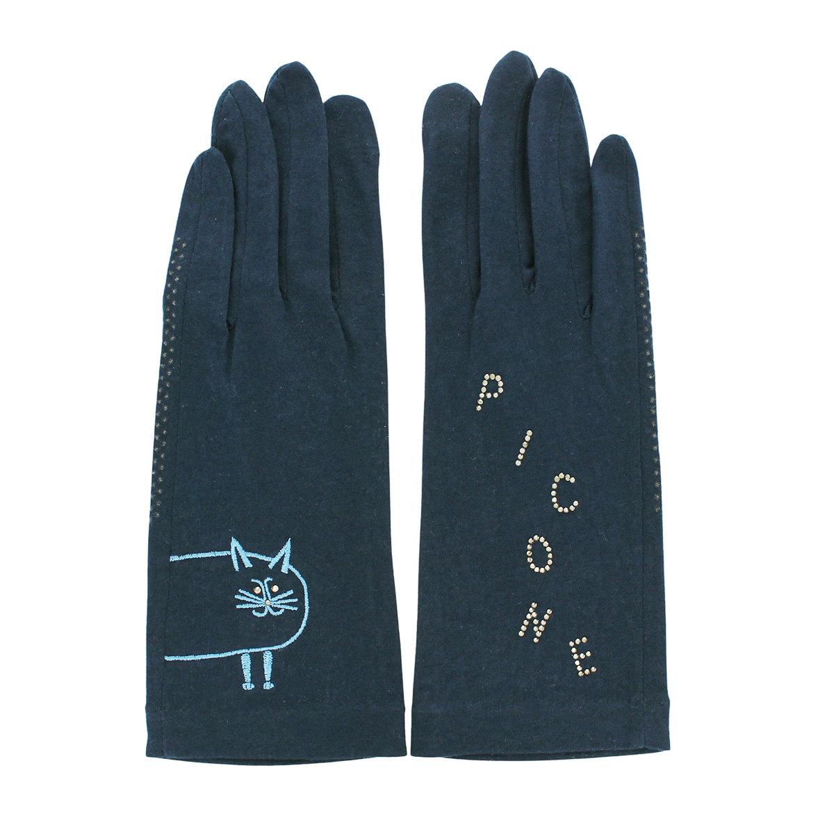 ピッコーネ レディース UV手袋 紫外線対策 綿100% ショート丈 25cm 五本指 抗菌 抗ウイルス 花粉対策 敏感肌対応 スマホ タッチパネル対応 滑りどめ付 洗える