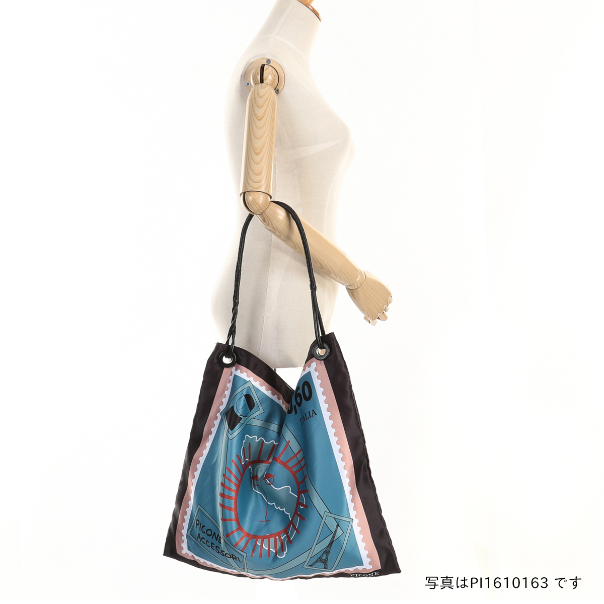 ピッコーネ アッチェッソーリ スカーフプリント 肩掛けバッグ ポリエステル製 レザー風ハンドル