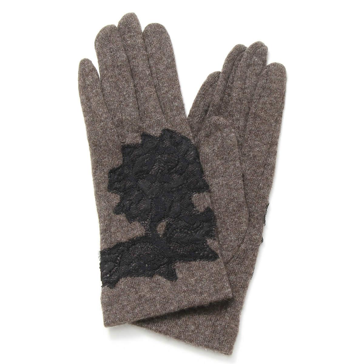 レディース手袋 カシミヤ100%ジャージ フランス製レース飾り アルタクラッセカプリガンティ Mサイズ 全4色