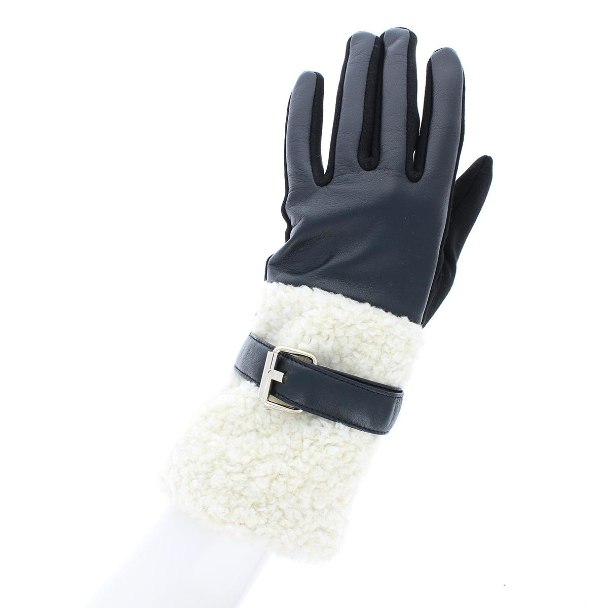 手袋 ボアとジャージ 切替デザイン ベルト付 少し長め丈 ストレッチ素材  BIYUTE