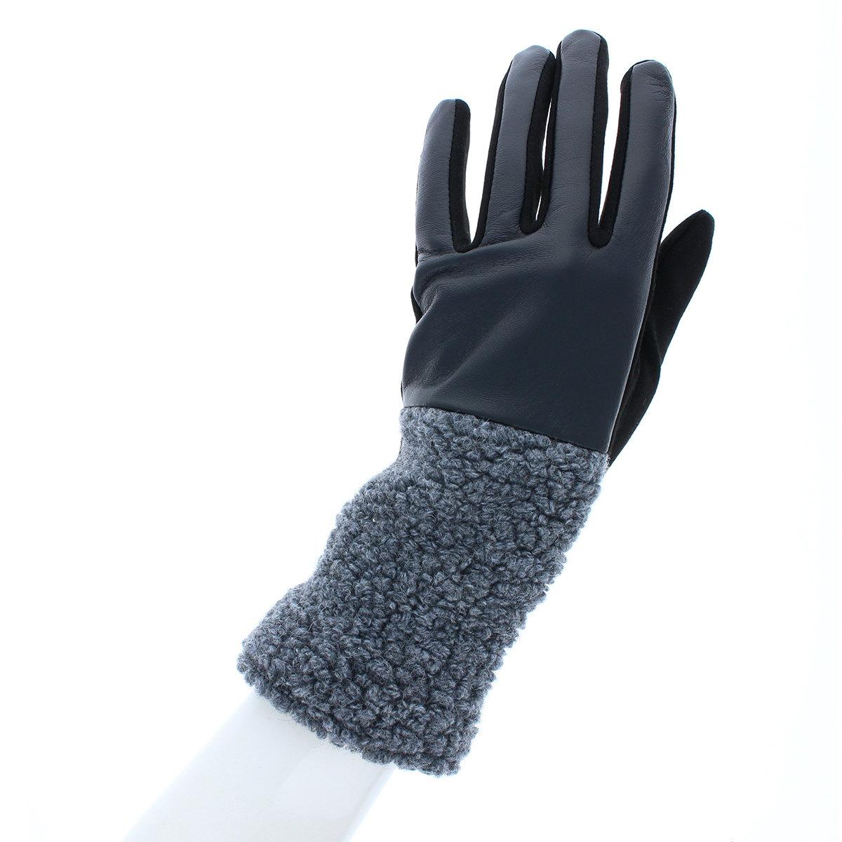 手袋 ボアとジャージ 切替デザイン 少し長め丈 ストレッチ素材  BIYUTE