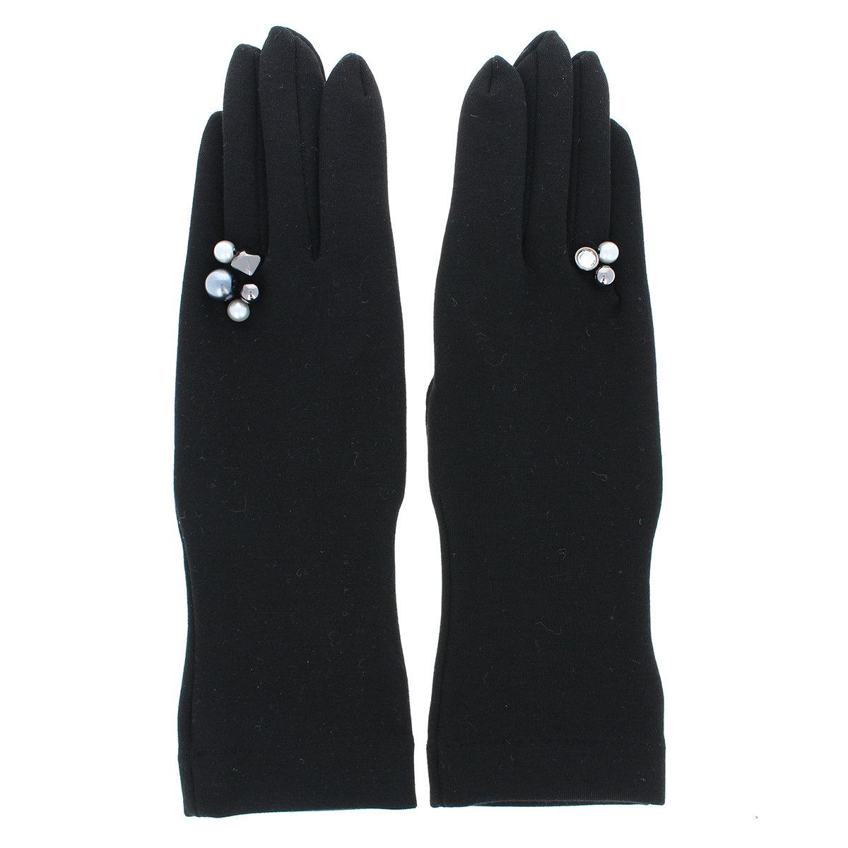 ジャージ 手袋 アシンメトリーデザイン 指輪風アクセ付 少し長め丈 ストレッチ素材 BIYUTE