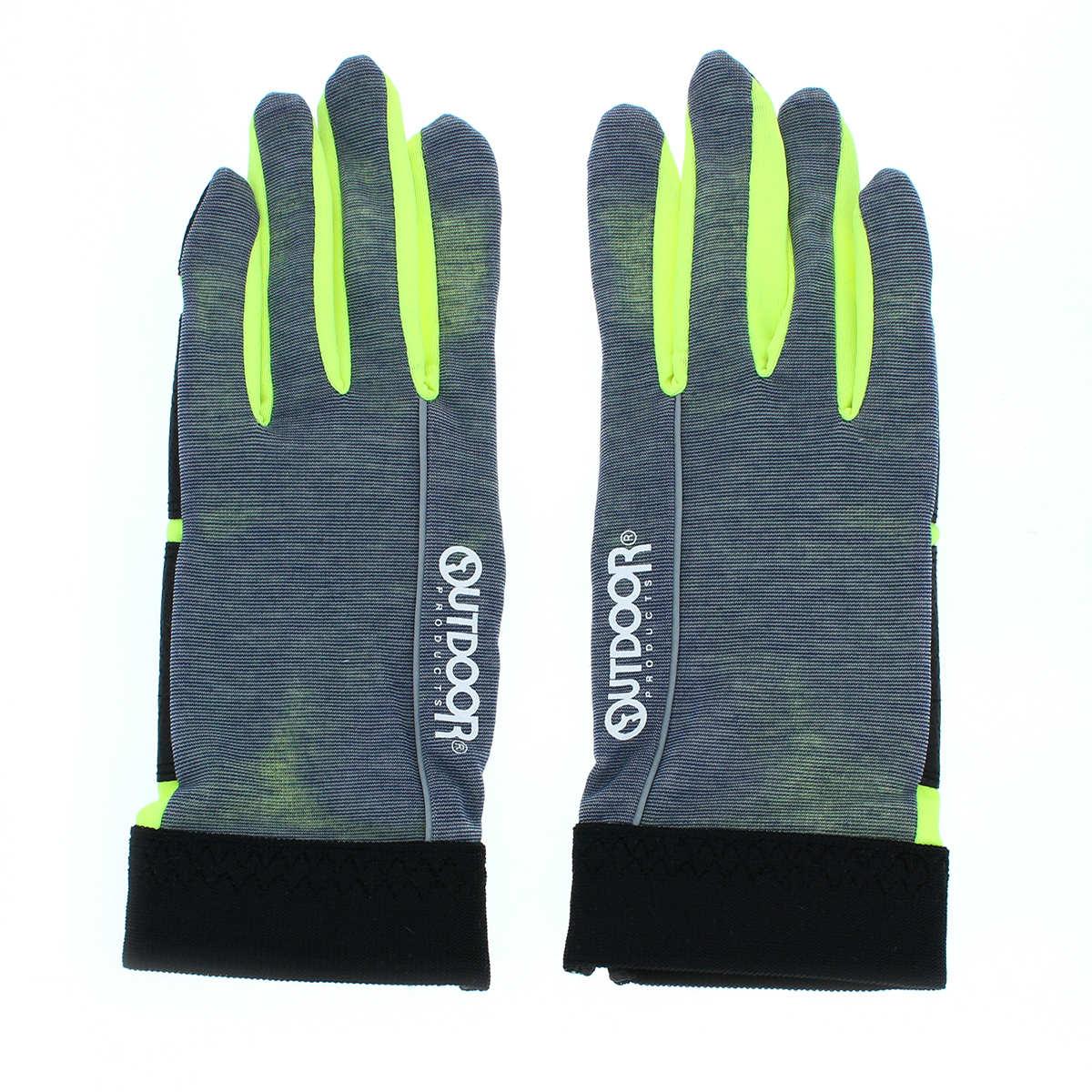 OUTDOOR アウトドア スポーツ UVカット UV手袋 ショート丈 23cm 五本指 ストレッチ 機能性素材 洗える すべり止め付 サイクリンググローブ風 ユニセックス