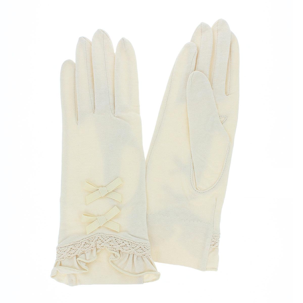 高遮蔽 綿100% 五本指 ショート丈 レディース UV手袋 UVカット 洗える ヨークス 裾レース装飾がエレガント ちょっと長め丈 25cm プレゼント プレゼント