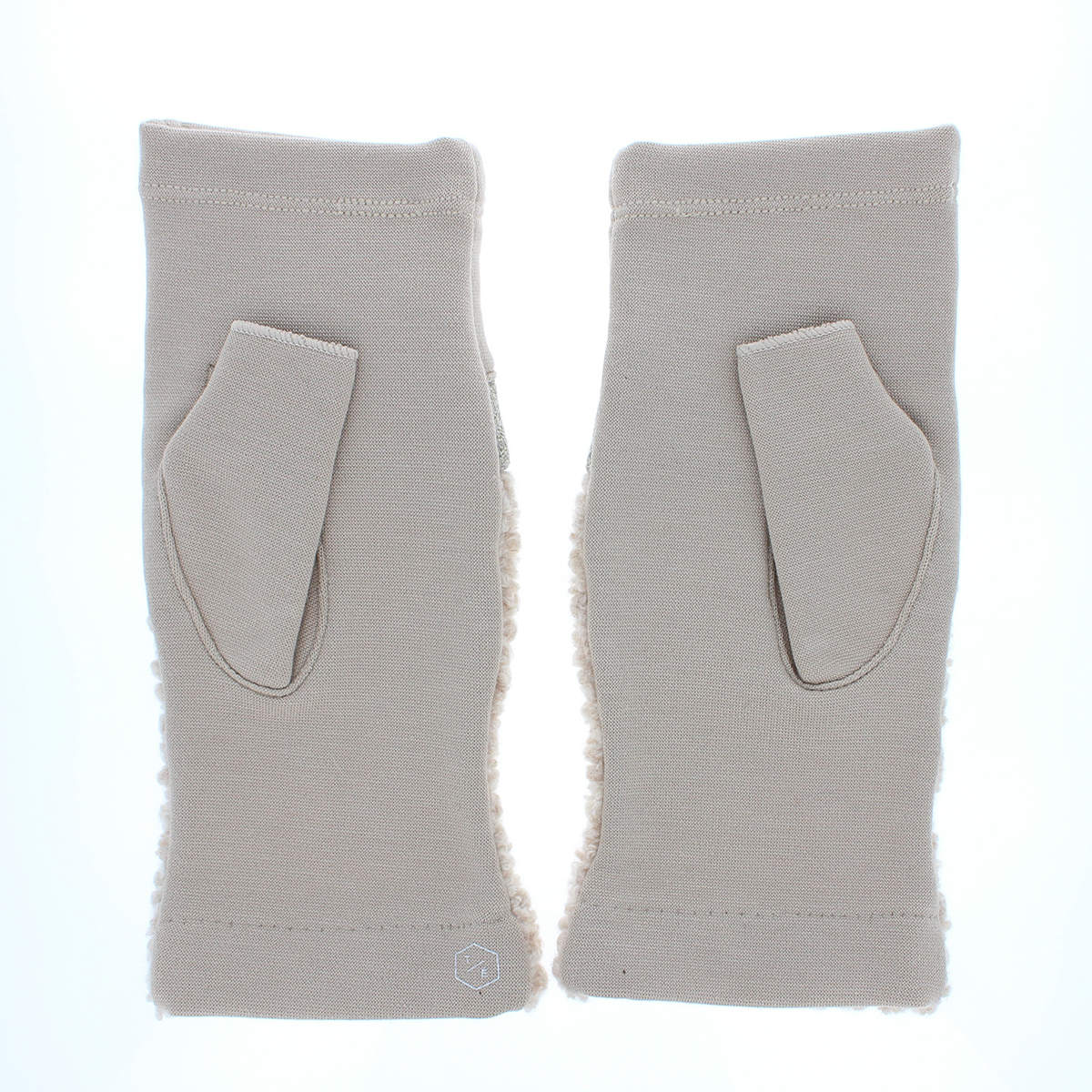 手袋 ボアとジャージ 切替デザイン 指なし ストレッチ素材  BIYUTE