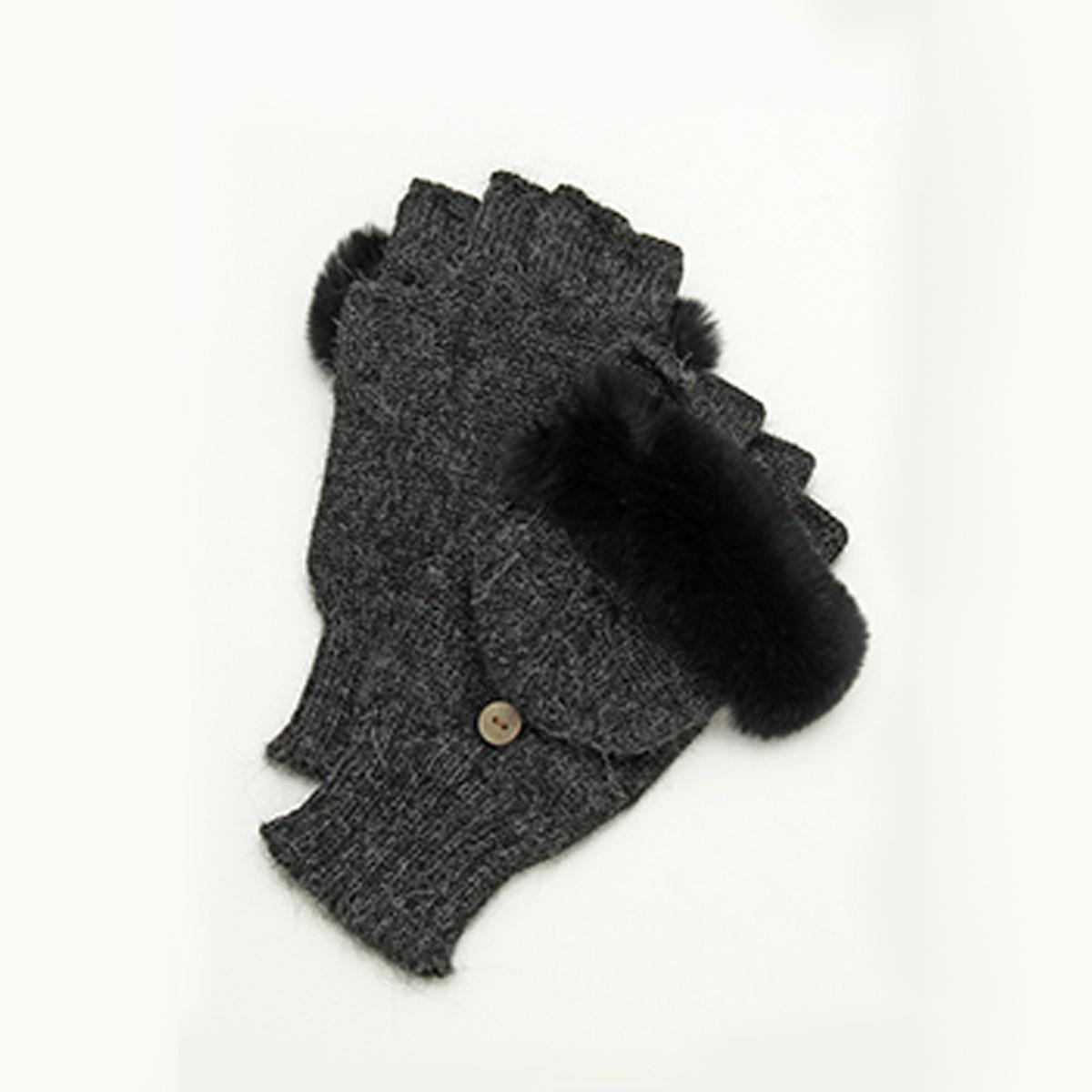 DAKS ラビットファー フード付き 2WAYミトン アルパカ100%ニット レディース手袋 フリーサイズ 全4色
