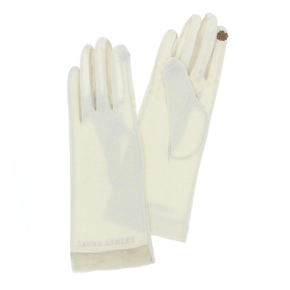 ローラアシュレイ レディース UV手袋 UVカット 紫外線対策 保湿素材 五本指 洗える タッチパネル スマホ対応 ちょっと長め丈 ショート丈 26cm プレゼント