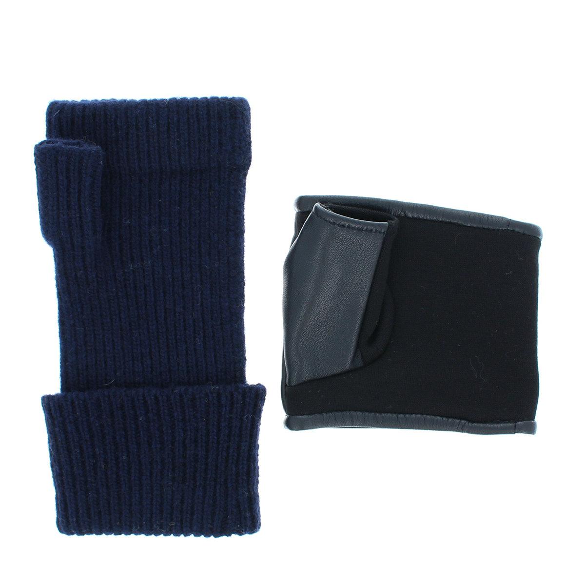 指なし ニット手袋 レザーカフ レイヤードスタイル  BIYUTE