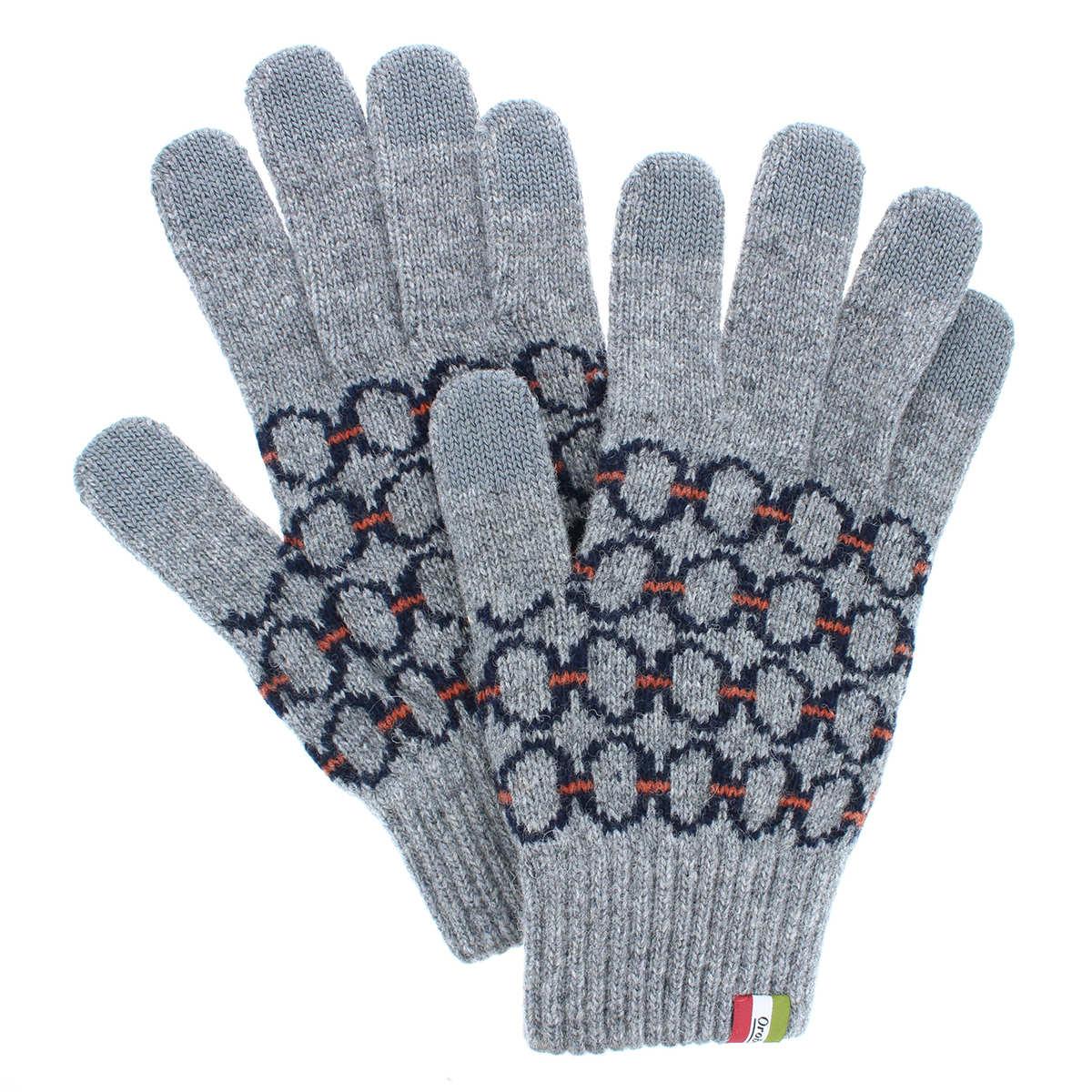 オロビアンコ メンズ タッチパネル スマホ対応 シーズン柄 ジャカード ニット手袋