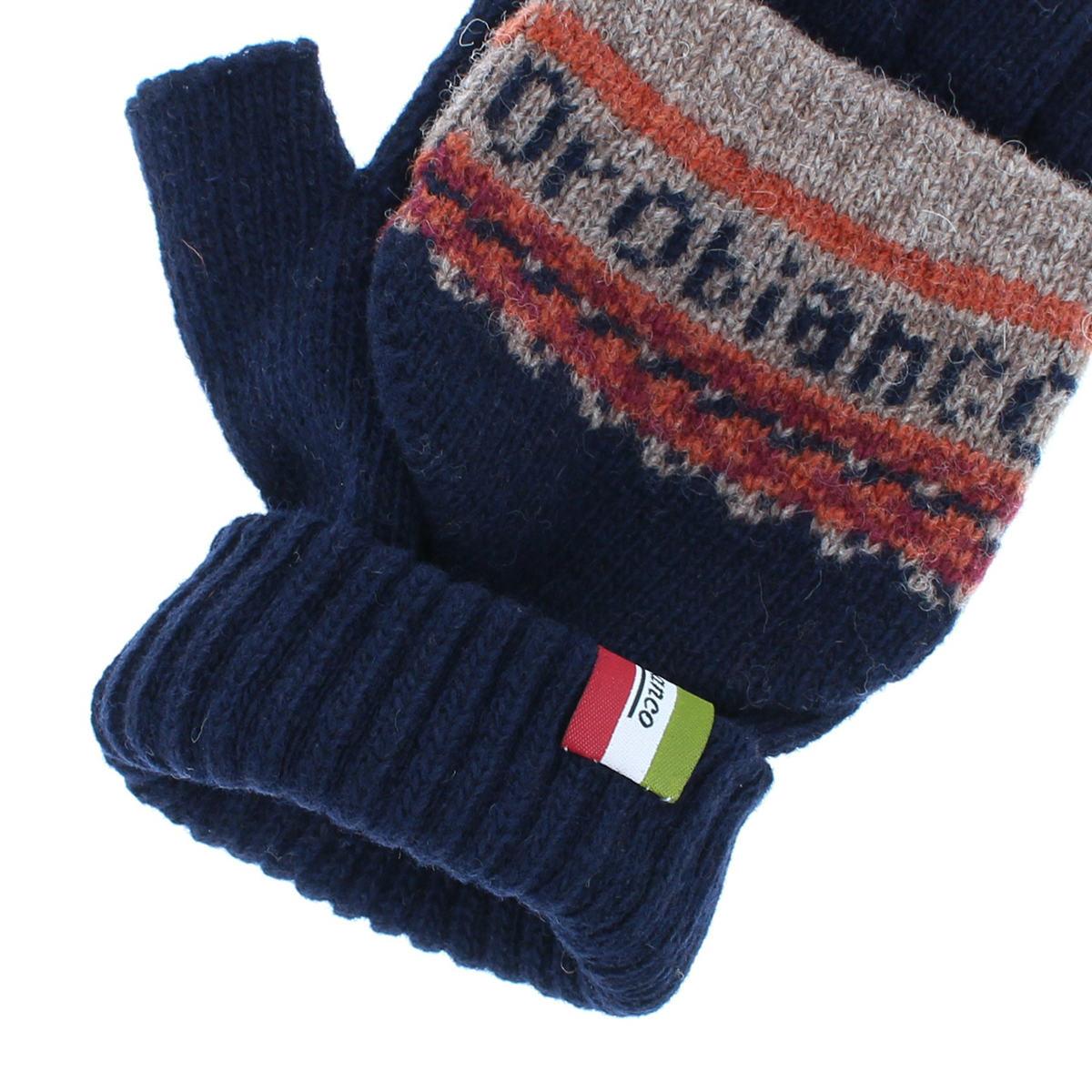 オロビアンコ メンズ フード付き 2WAY 指切り ロゴ入り柄 ジャカード ニット手袋