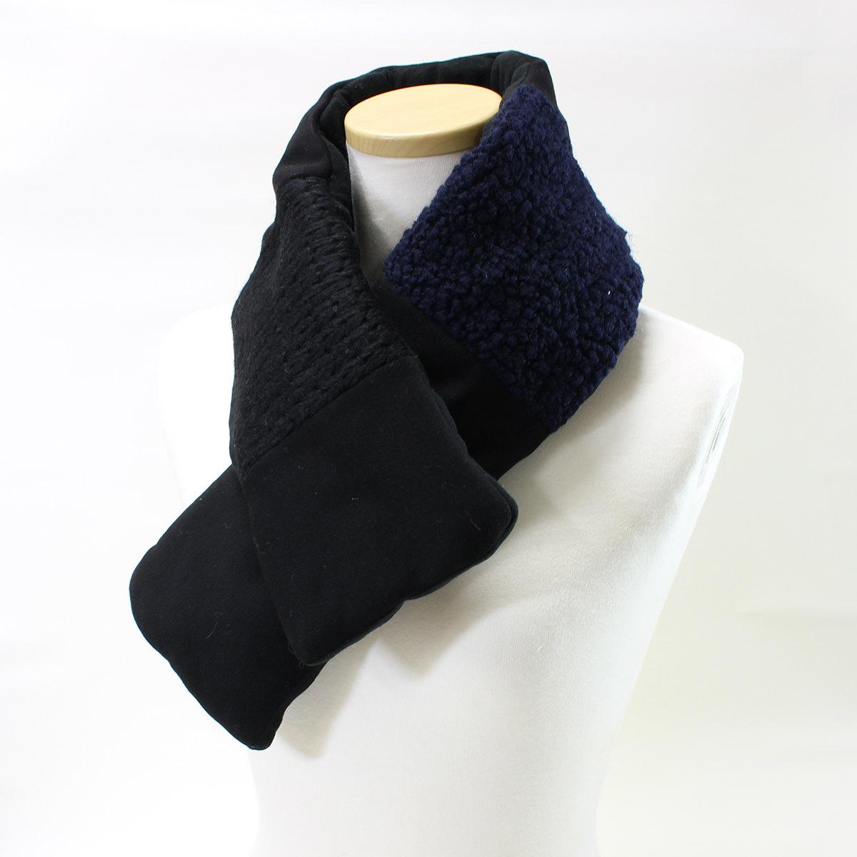 ネックウォーマー 綿入りで暖か 切替デザイン BIYUTE