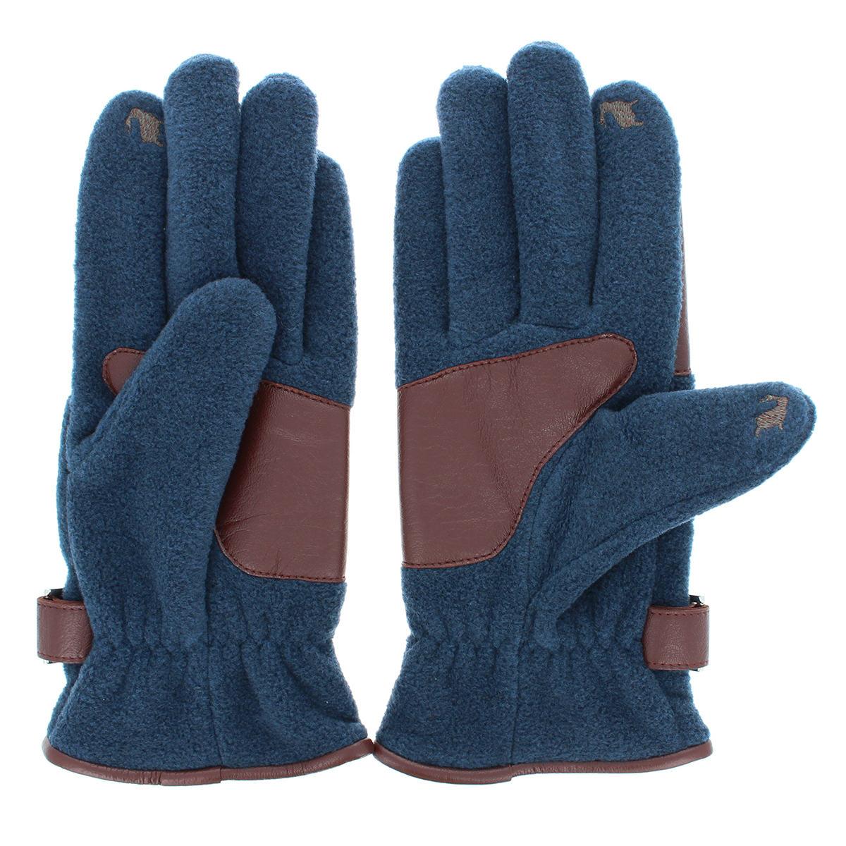オロビアンコ ベルトデザイン メンズ フリース ジャージ手袋 タッチパネル対応 革パッチすべり止め付