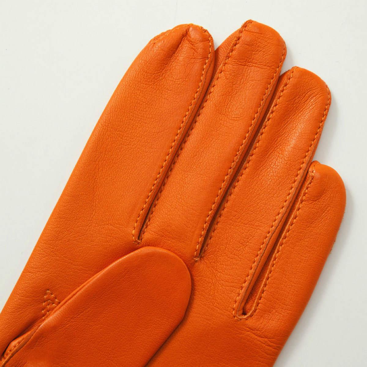 アルタクラッセ カプリガンティメンズ革手袋裏地無しオレンジ