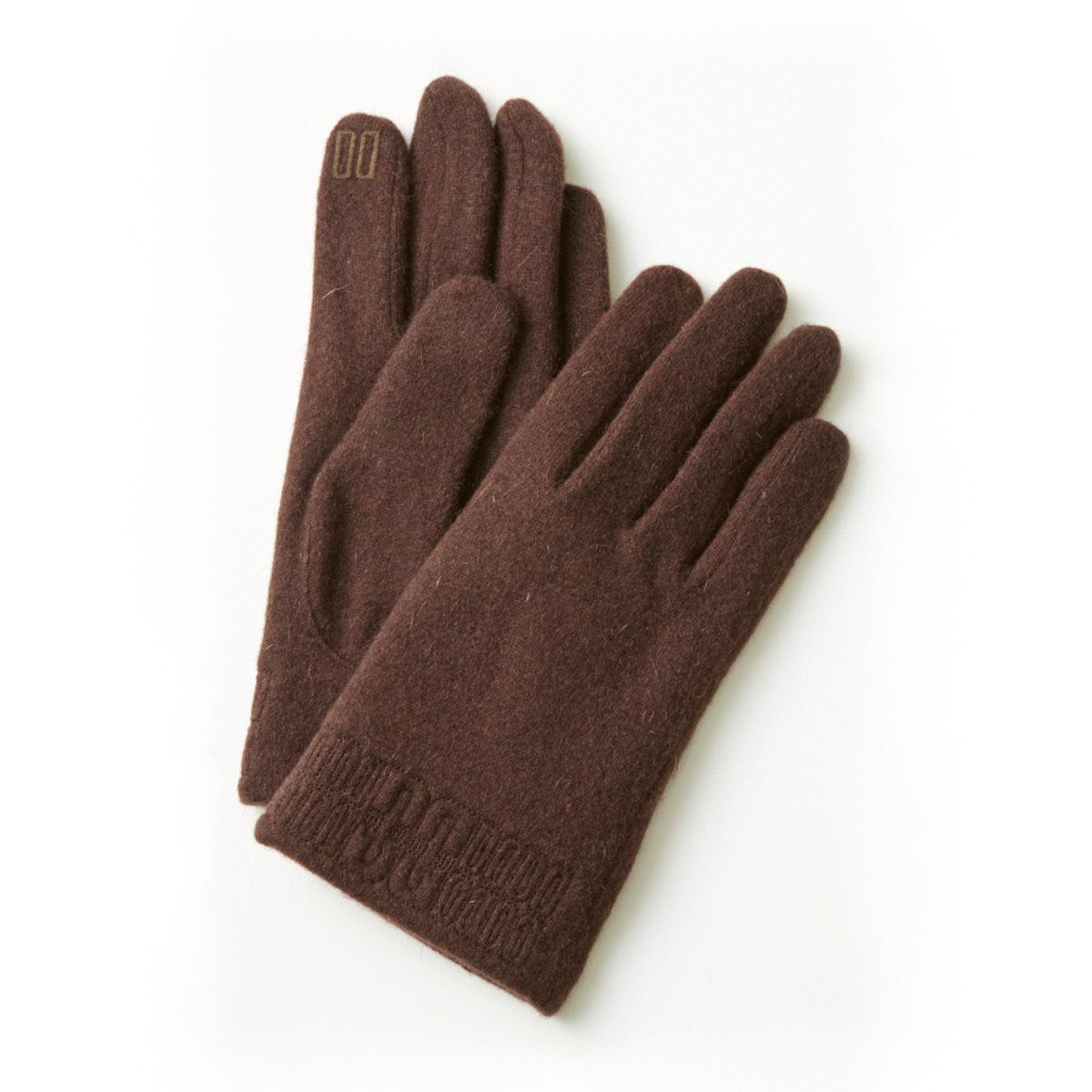 DAKS ウール混ジャージ メンズ手袋 裾DD柄刺繍 スマホ タッチパネル対応 日本製 23〜24cm(M) 全3色