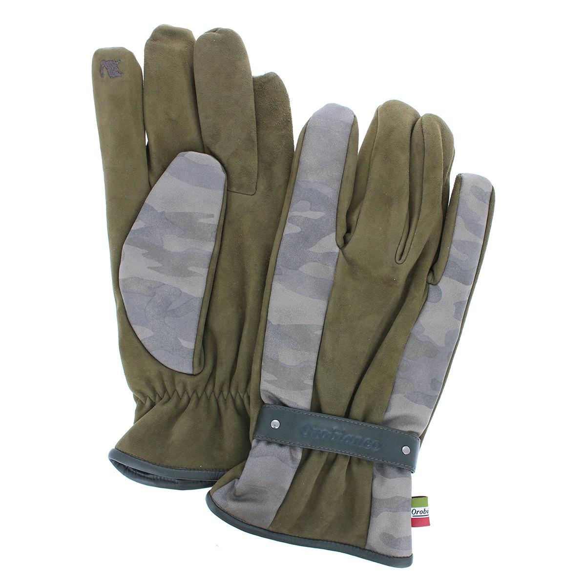 オロビアンコ メンズ 迷彩柄ナイロン ベルトデザイン 革コンビ 手袋 タッチパネル対応