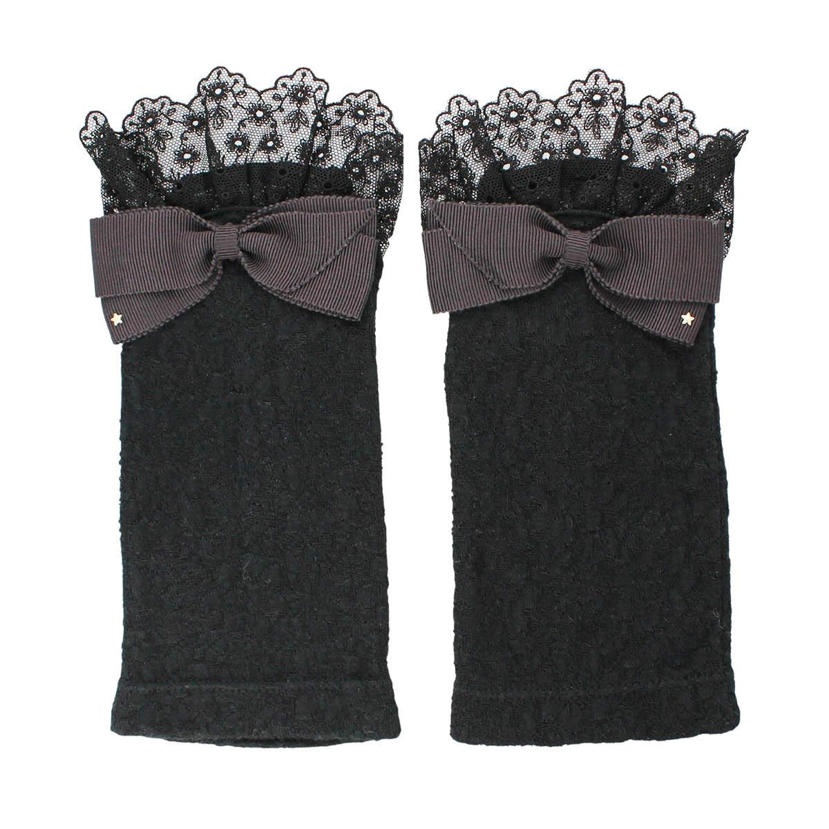 アルタクラッセ UV手袋 UVカット 紫外線対策 ショート丈 19cm 指なし スマホ タッチパネル対応 フェミニン リボン レース チュール かわいい プレゼント