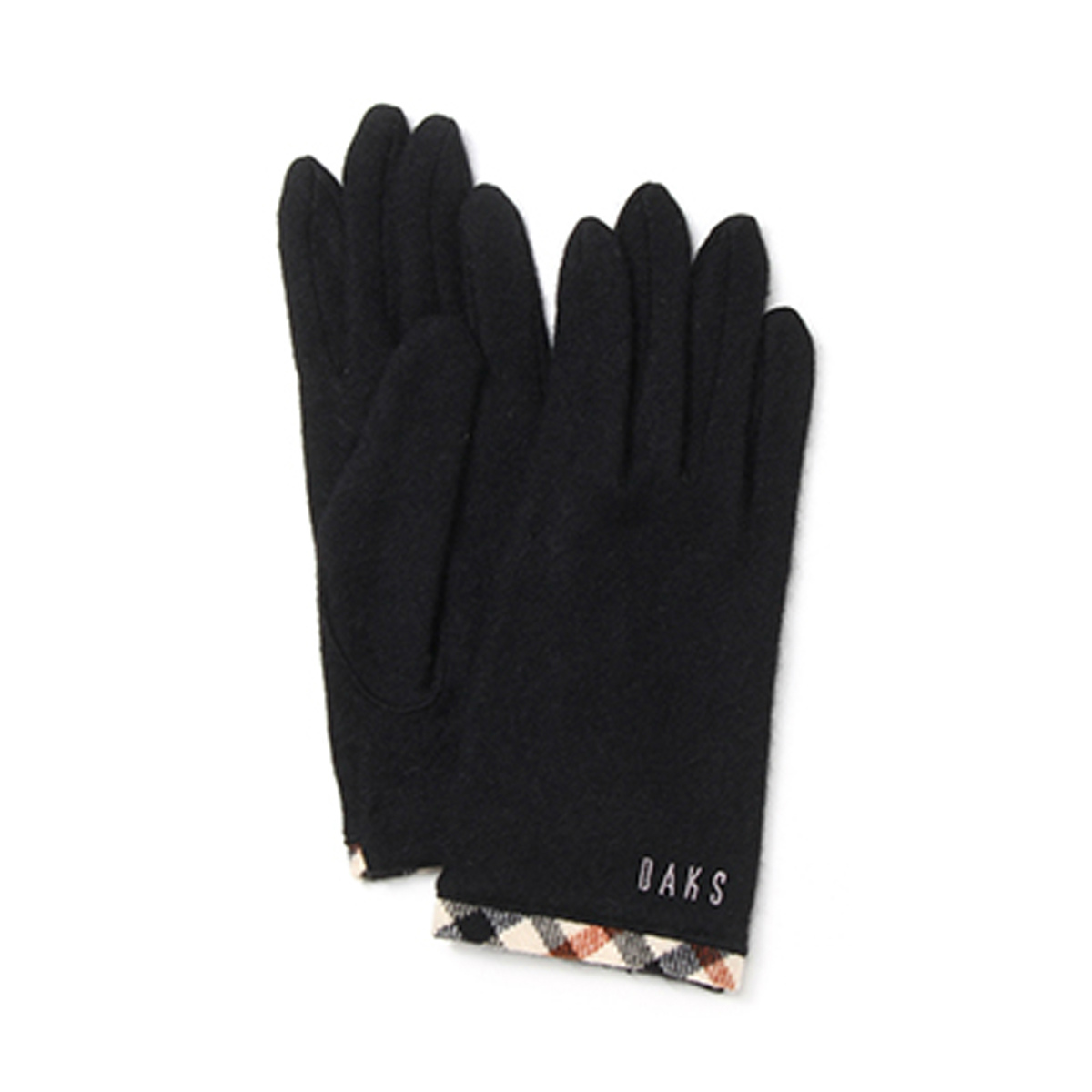 【SALE】DAKS ロゴ刺繍入り ハウスチェックパイピング裾 カシミヤ100% ジャージ レディース手袋 日本製 Mサイズ 全4色