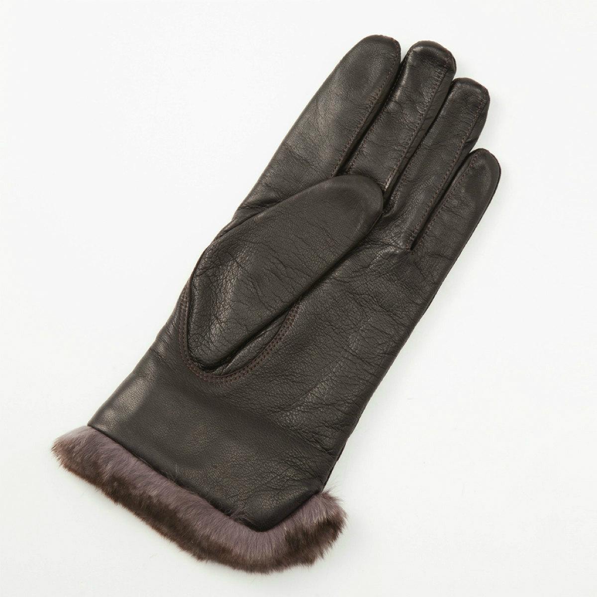 アルタクラッセ カプリガンティメンズ レッキスファー付/革手袋チョコ