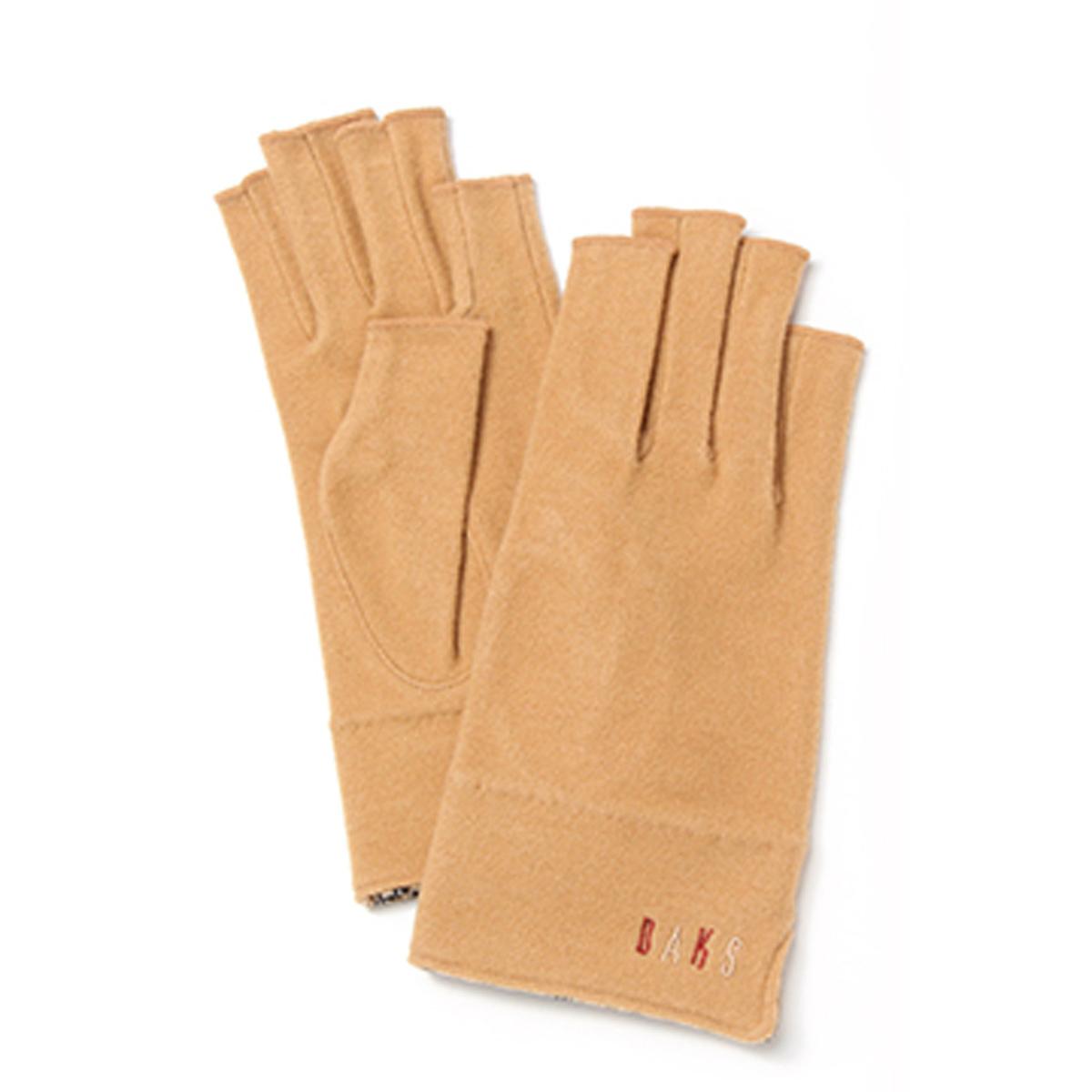 DAKS ロゴ刺繍 裾裏ハスチェック アクリルテンセルジャージ 指なしレディース手袋 日本製 Mサイズ 全4色