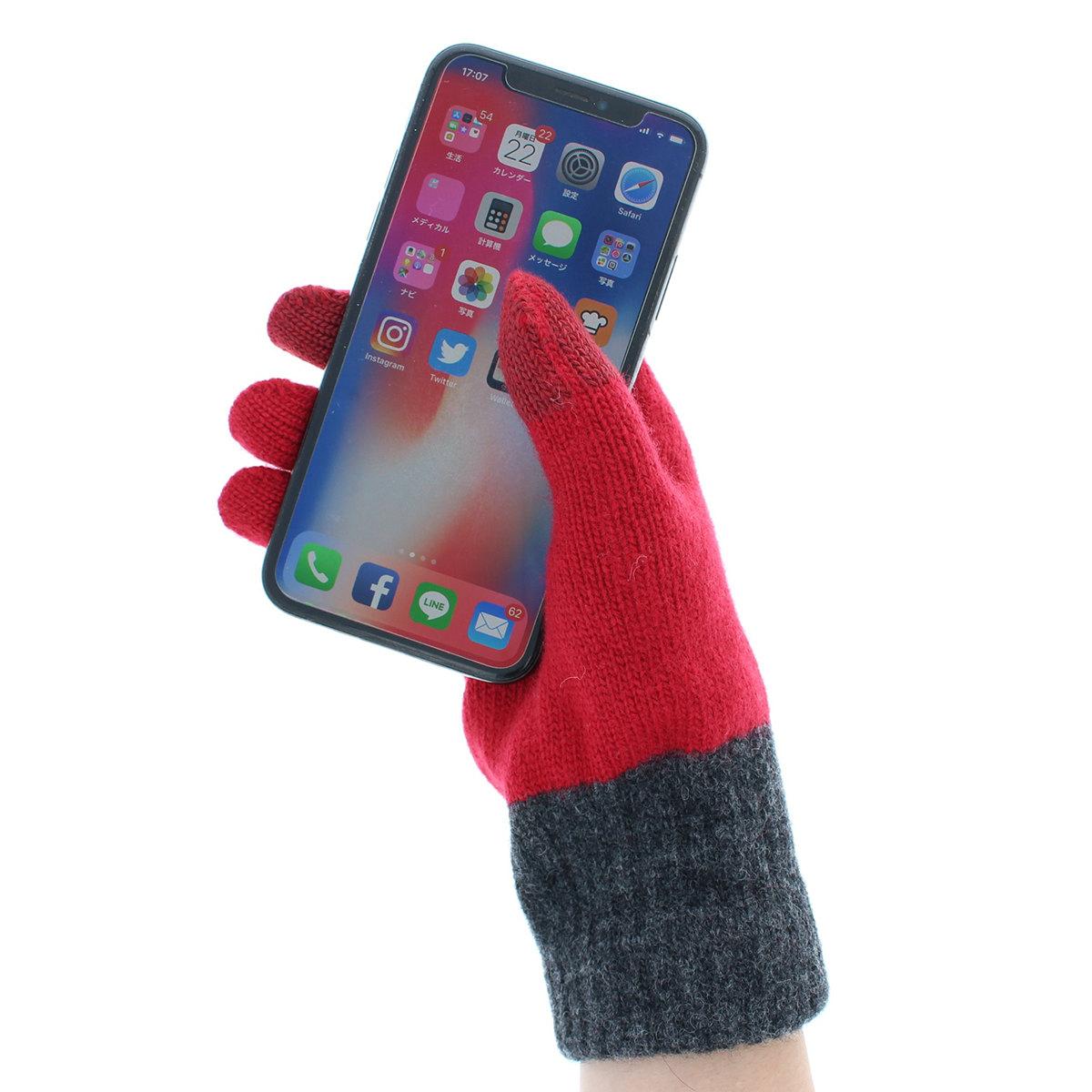 【SALE】アニエスベー agnes b. レディース ニット手袋 人気ブランド あったか5本指 スマホ対応 タッチパネル対応 バイカラー 日本製 男女ペア企画 フリーサイズ