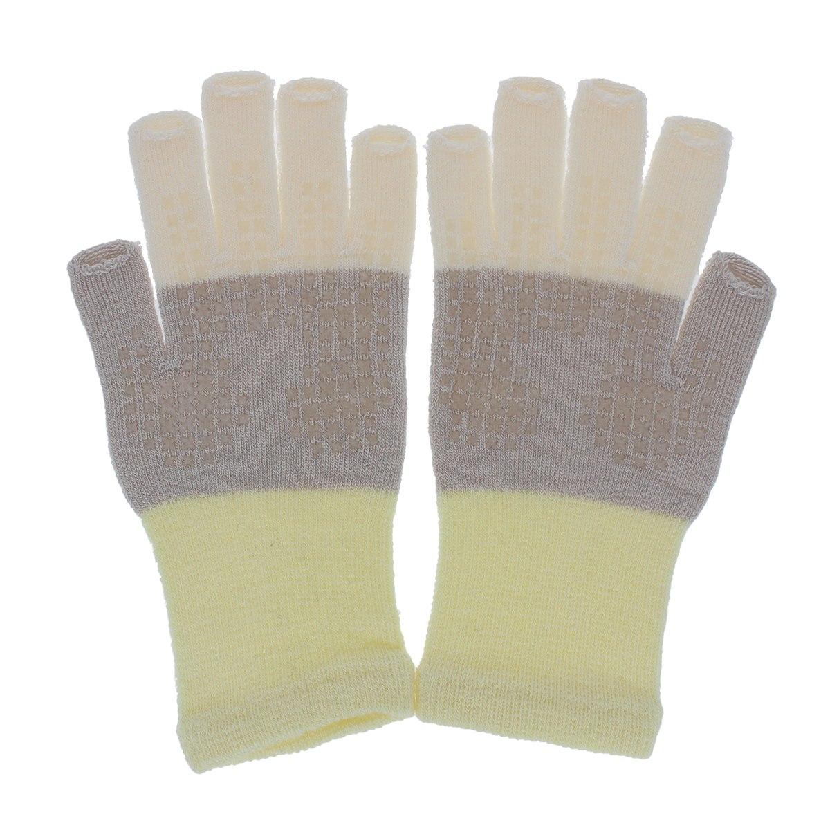 【スマホ対応】YUBIDERU ユビデル ハンドケア手袋 レディース うるおい 保湿 発熱効果 指先が出る おやすみ手袋 ナイトグローブ タッチパネル対応 指紋認証 滑り止め付 日本製