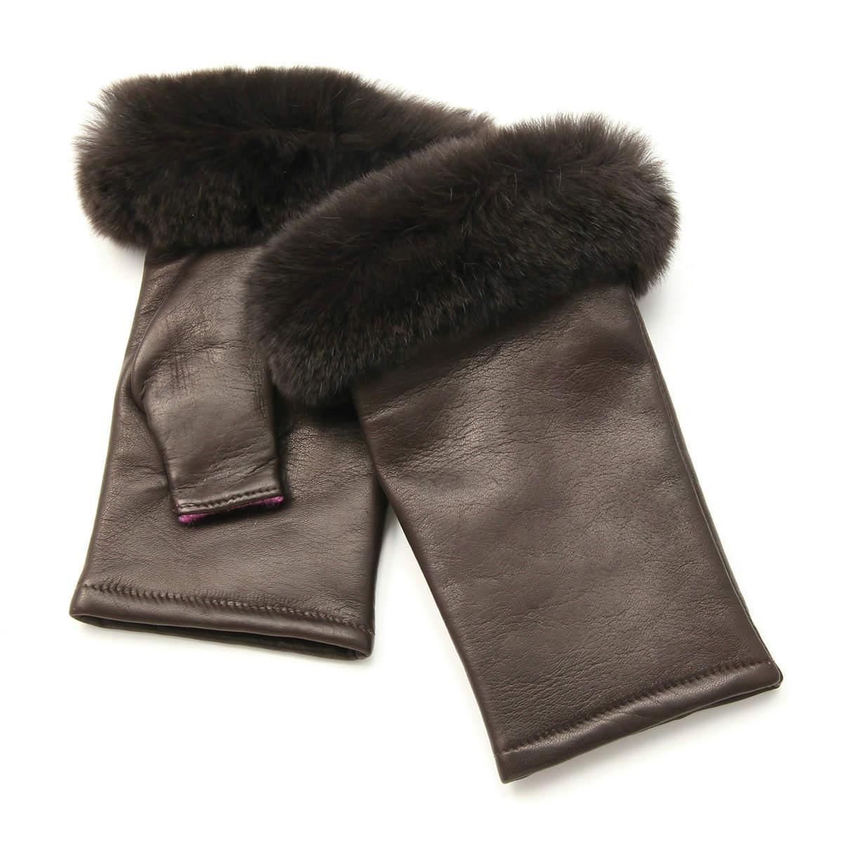 アルタクラッセ カプリガンティ 裏地カシミヤ100% レディース 指無し 裾レッキスファー付 エレガント 革手袋 Mサイズ 全3色