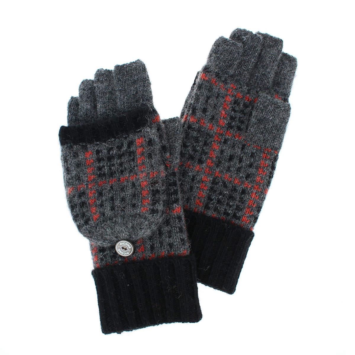 ピッコーネ レディース 2WAYニット手袋 フード付き ミトン 指切り 手袋 スマホ タッチパネル対応 秋冬 防寒 ほっこり あったか 可愛い チェック柄ニット