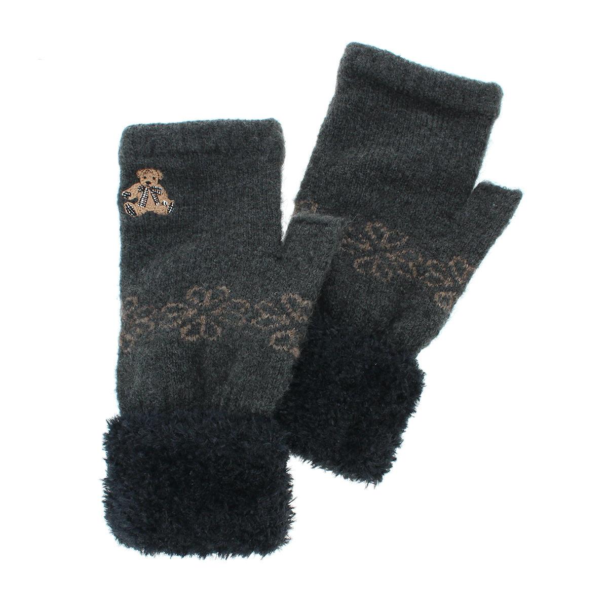 DAKS ダックス レディース ニット手袋 指なし スマホ タッチパネル対応 ボリューミーカフス ワンポイント テディベア刺繍 幾何学模様 雪柄ジャカード