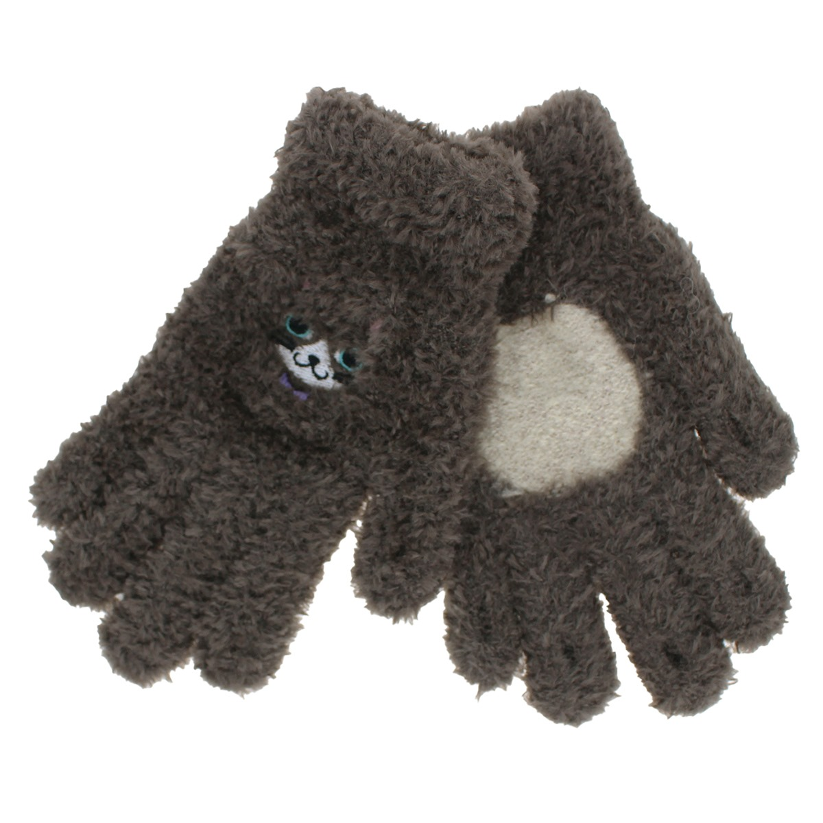 【スマホ対応】YUBIDERU ユビデル レディース ニット手袋 指先が出る スマホ 指紋認証対応 スマホ手袋 あったか ふわもこ ボア手袋 五本指 日本製 ネコ柄