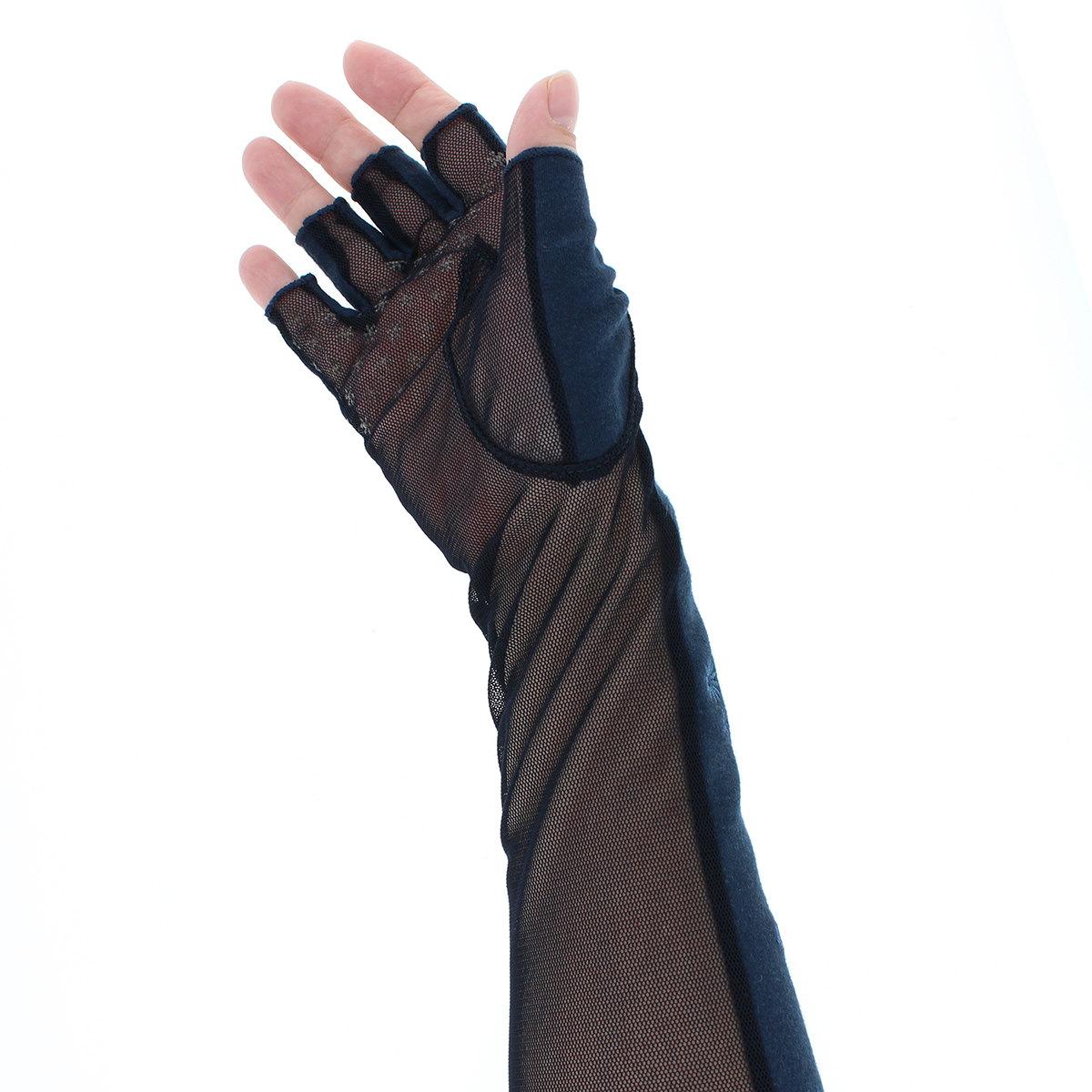 ローラアシュレイ レディース UV手袋 アームカバー セミロング丈 35cm UVカット 綿100% 洗える 掌メッシュ素材 指先カット タッチパネル スマホ対応 プレゼント