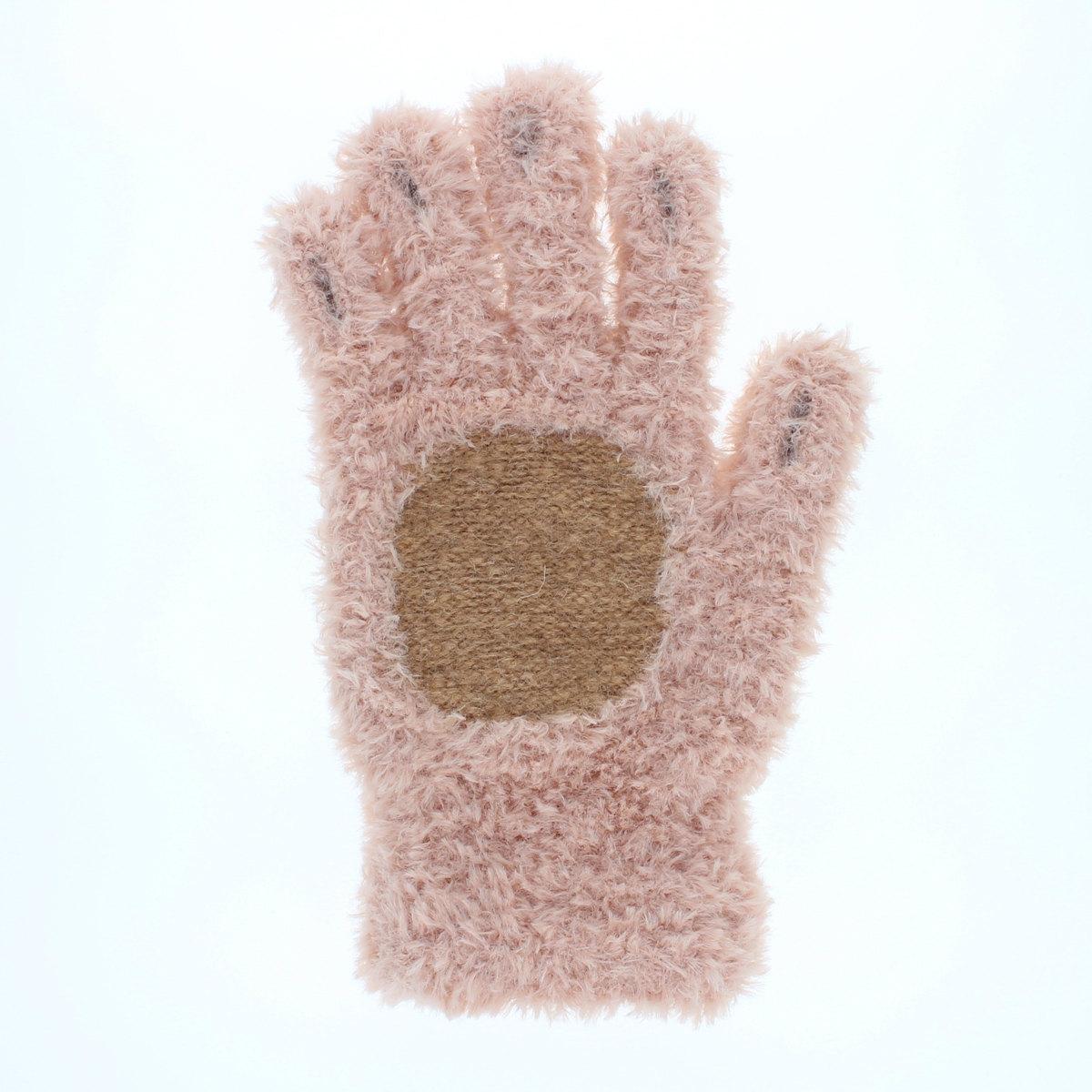YUBIDERU ユビデル 指先が出る 指紋認証ラクラク アニマル手袋 レディース ティーンズ ニット手袋 イヌ柄