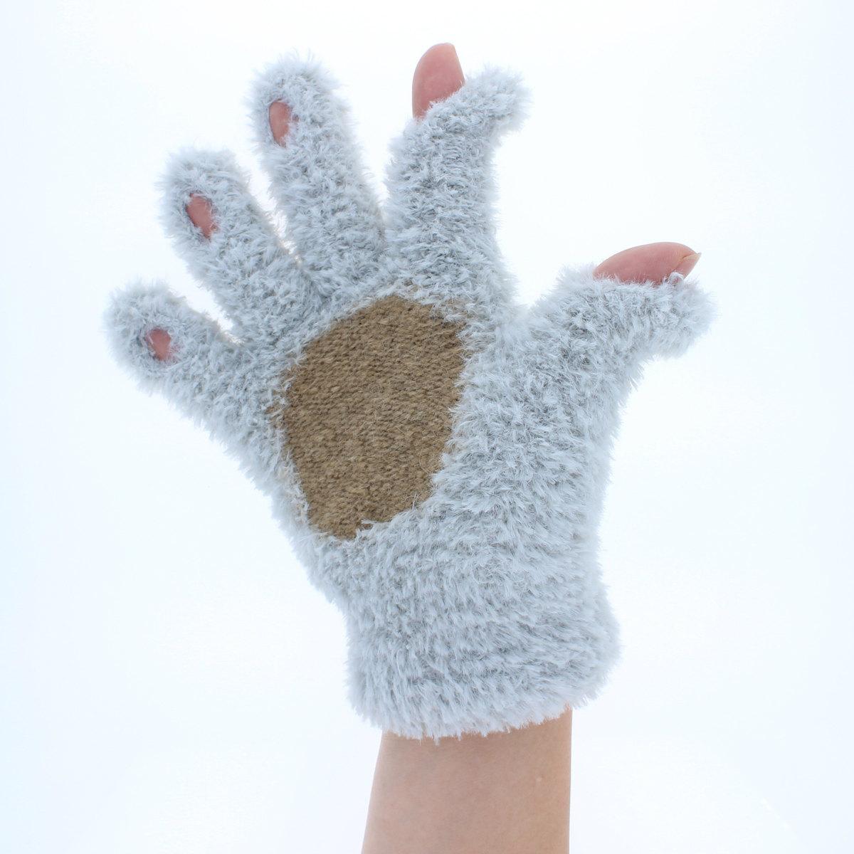 YUBIDERU ユビデル 指先が出る 指紋認証ラクラク アニマル手袋 レディース ティーンズ ニット手袋 ハリネズミ柄