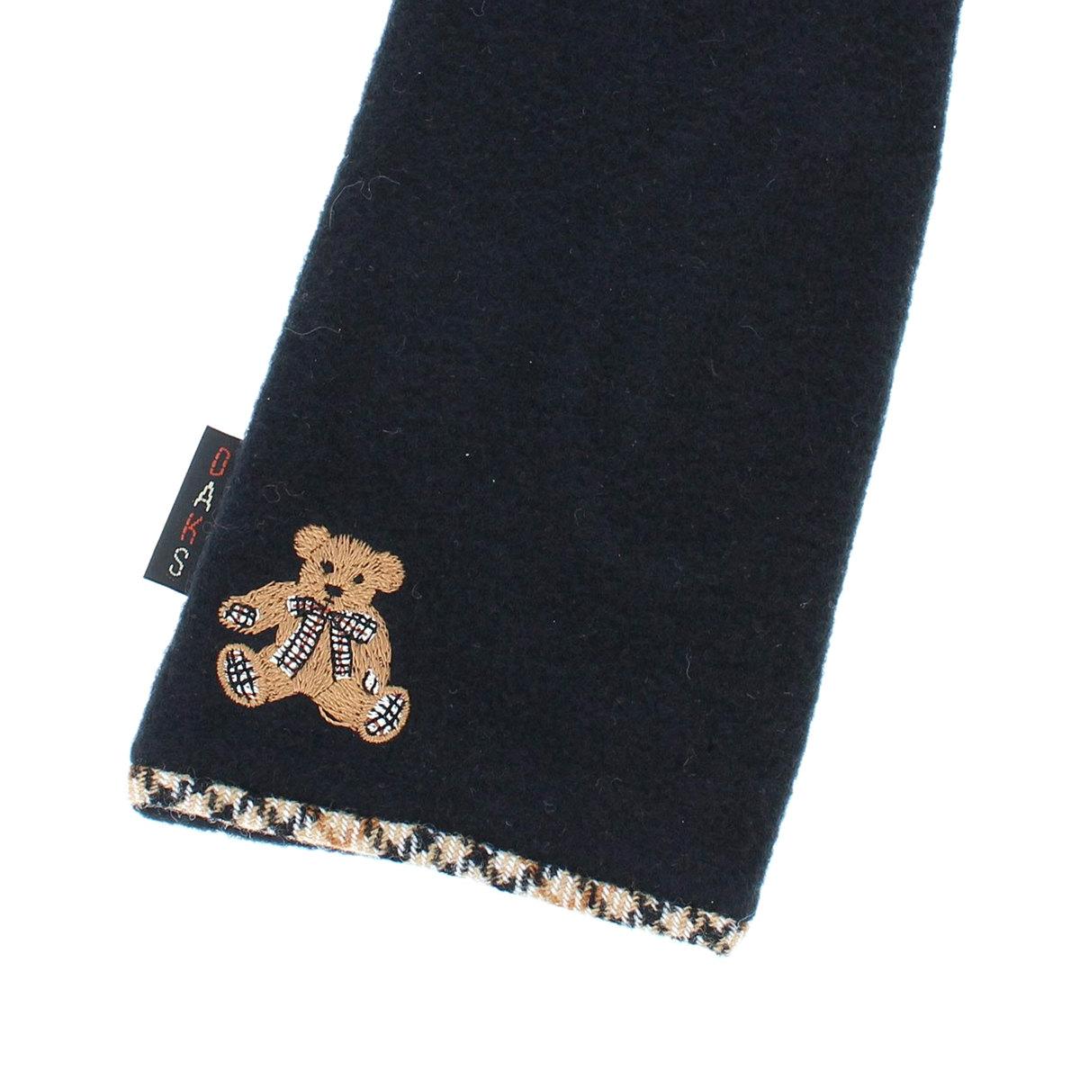 DAKS ダックス レディース ジャージ手袋 テディベア刺繍 ハウスチェックパイピング裾 アクリルテンセル 柔らかジャージ素材 日本製 秋冬 五本指手袋