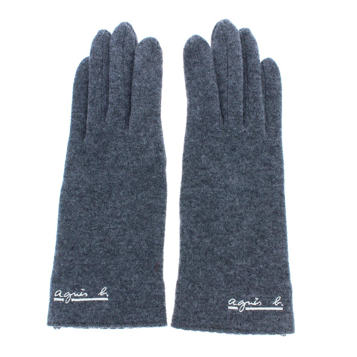 アニエスベー agnes b. レディース ウール100% ジャージ手袋 人気ブランド スマホ対応 五本指 シンプル ベーシック フリーサイズ プレセントに最適