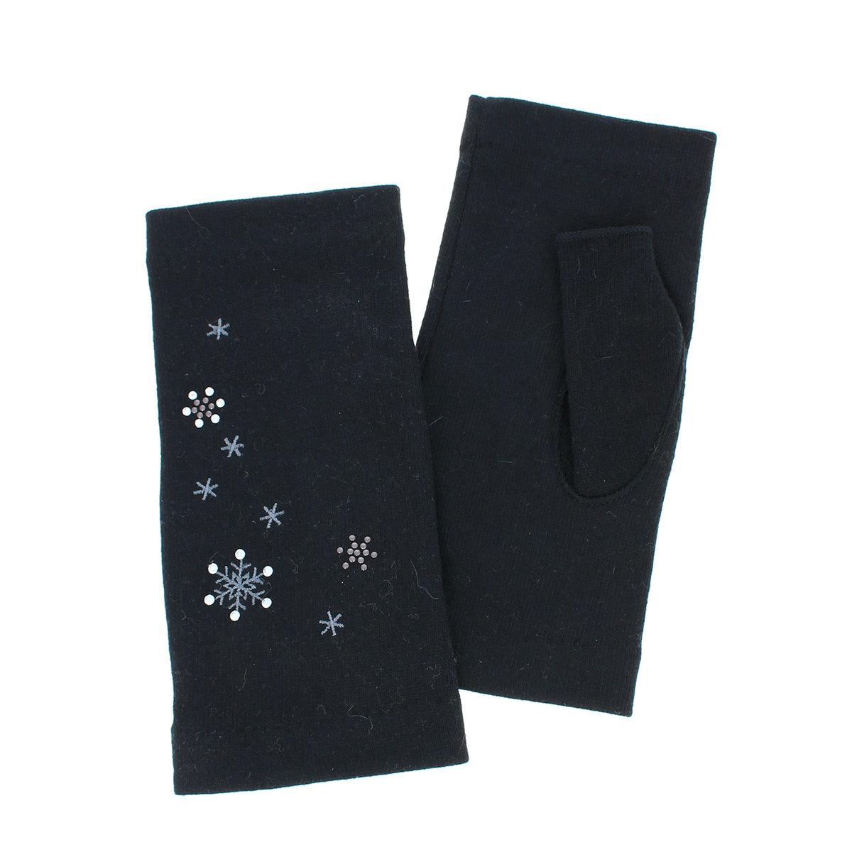 ローラアシュレイ 人気ブランド レディース ジャージ手袋 指なし 短め丈 秋冬 定番 スノーフレイク柄 スマホ タッチパネル対応