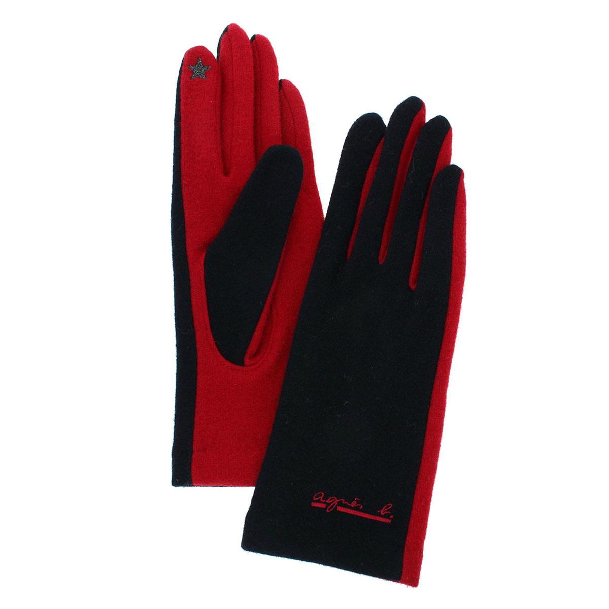 アニエスベー agnes b. レディース ウール混 ジャージ手袋 人気ブランド スマホ タッチパネル対応 五本指 バイカラー フリーサイズ プレセントに最適