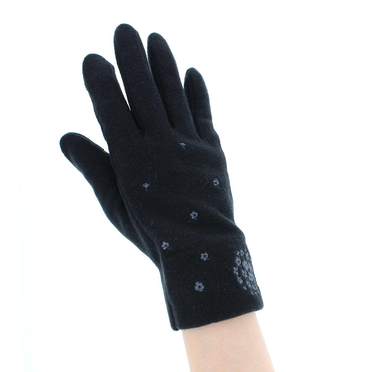ローラアシュレイ 人気ブランド レディース ジャージ手袋 タッチパネル スマホ対応 指紋認証対応 指先だけ出せる 秋冬 五本指手袋 COCO柄刺繍 柔らかな肌触り