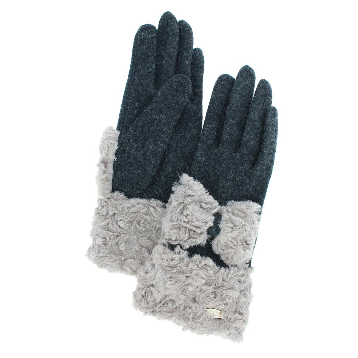 アルタクラッセ レディース ファー付き 手袋 スマホ対応 タスマニアラムジャージ 防寒 スパイラルボア フェミニン ゴージャス 五本指
