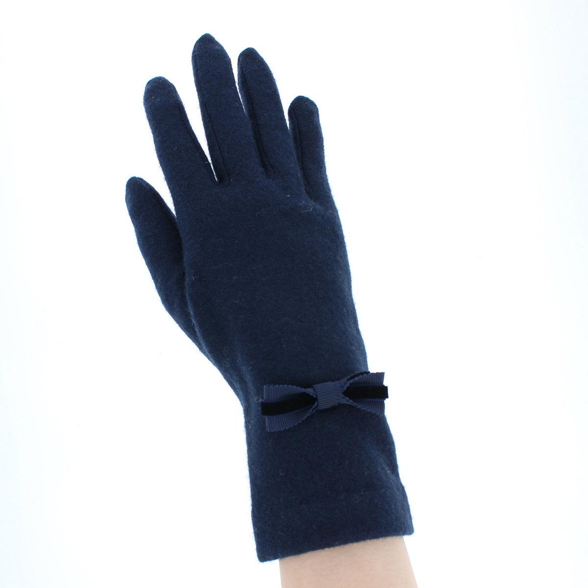 ローラアシュレイ 人気ブランド レディース ジャージ手袋 タッチパネル スマホ対応 長め丈 秋冬 五本指手袋 ワンポイント リボン おしゃれ ガーリーデザイン