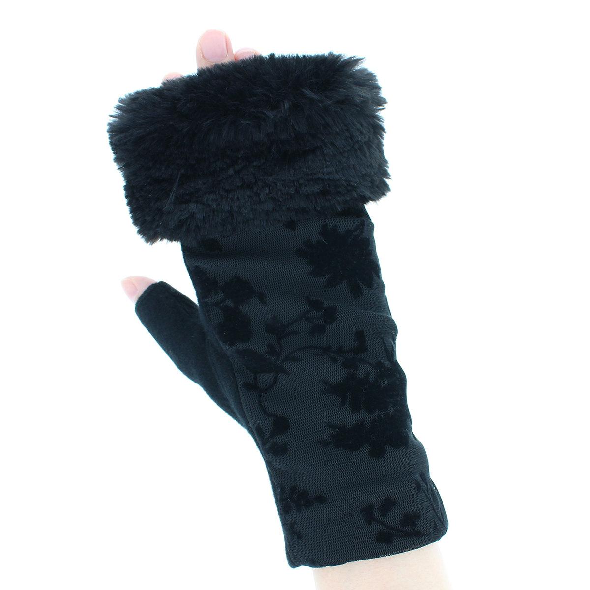 ローラアシュレイ 人気ブランド レディース ジャージ手袋 ファー付き 指なし パーティー手袋 ゴージャス エレガント おしゃれ 秋冬